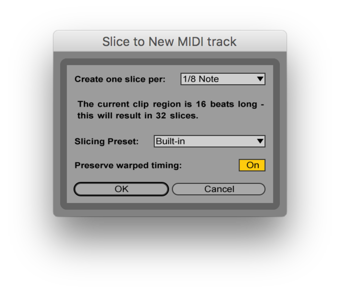 Slice to MIDI settings