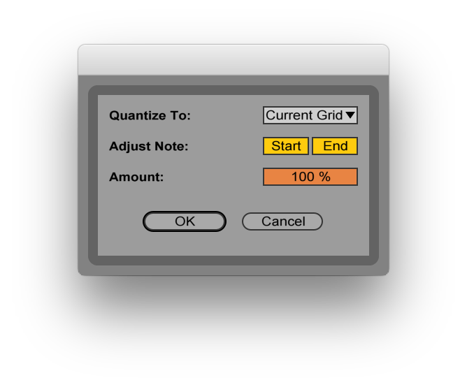 Quantise settings dialog