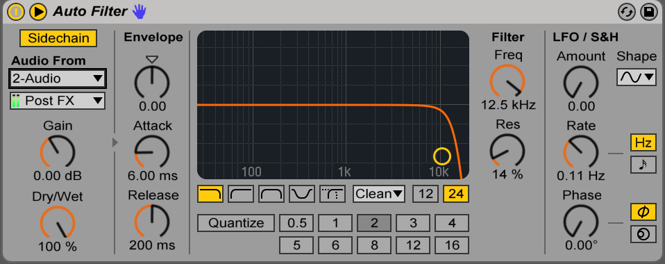 sidechain settings on Auto Filter